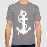 White Anchor Mens Fitted Tee Tri-Grey SMALL