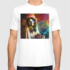 1970 Woman Of Rock And Roll By Annie Zeno SMALL White Mens Fitted Tee