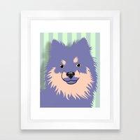 Olie the Pomeranian in Purple Framed Art Print