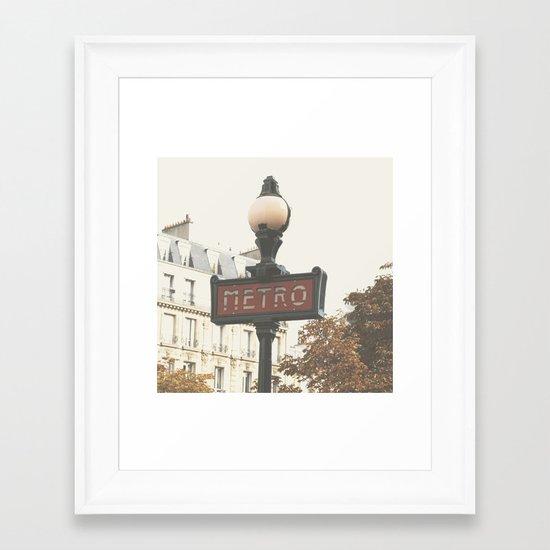 Metro - Paris Sign Photography Framed Art Print