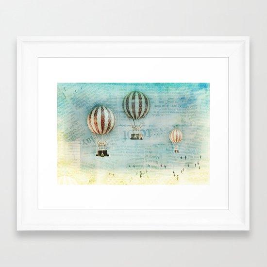 drifting _ hot air balloons Framed Art Print