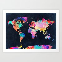 map Art Prints featuring World map by Bekim ART