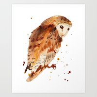 Owl, barn owl, woodland birds, harry potter wannabe gift, brown owl, watercolor owls Art Print