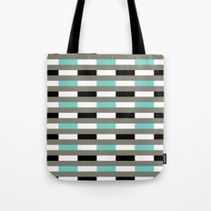 Turquoise, black & gray line pattern Tote Bag