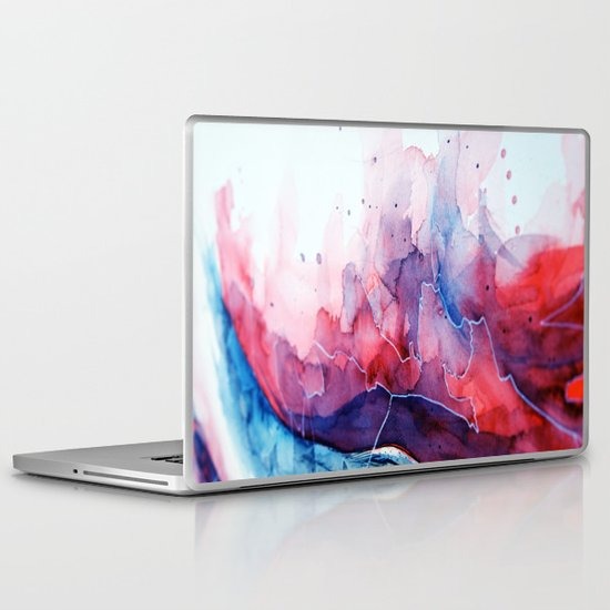 Watercolor magenta & cyan, abstract texture Laptop & iPad Skin