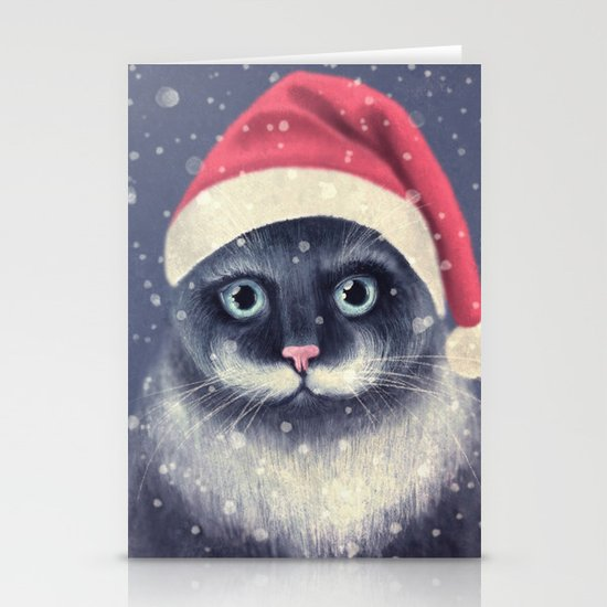 Christmas cat with a mustache Stationery Card