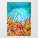Orange Lilies & White Mandala on Blue Canvas Print