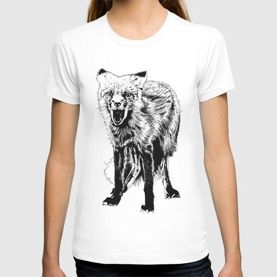 Angry Fox (b&w) T-shirt