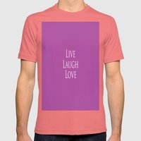 Live Laugh Love Mens Fitted Tee Pomegranate SMALL