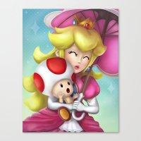 Princess Peach and Toad Canvas Print