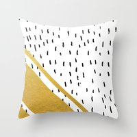 Gold Corner Speckled Throw Pillow