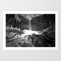 The Black Waterfall Art Print