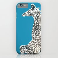 iPhone & iPod Case featuring Giraffe in Blue by Sunshine Inspired Designs