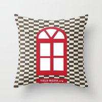 Red Window Throw Pillow