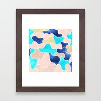 Color block faux gold turquoise pink watercolor Framed Art Print