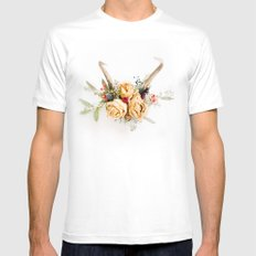 Floral Antlers IV SMALL Mens Fitted Tee White