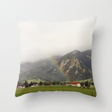 Rainbow in the Valley Throw Pillow