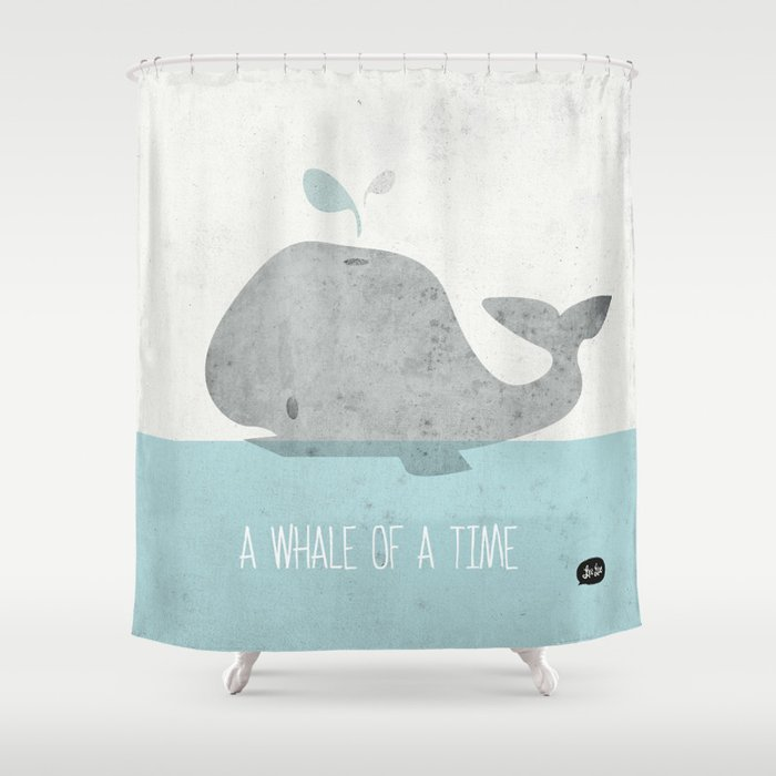 Whale Of A Time Shower Curtain By Lee Walsh