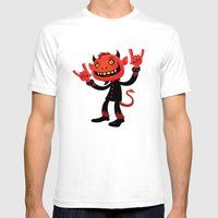 Heavy Metal Devil Mens Fitted Tee White SMALL