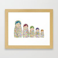 Rainbow Matryoshka Nesting Dolls Framed Art Print