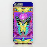 iPhone Cases featuring Lemon Butterflies Purple Morning Glories Nouveau Art by sharlesart