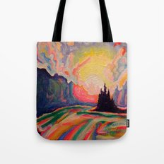 The Sun Is Setting At The Lake  Tote Bag