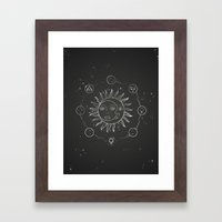 Moon, sun and elements Framed Art Print