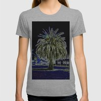 Magic Night With Palm Tr… Womens Fitted Tee Athletic Grey SMALL