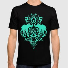 Elephant Damask Mint SMALL Mens Fitted Tee Black