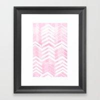 Pretty in Pink Chevron Framed Art Print