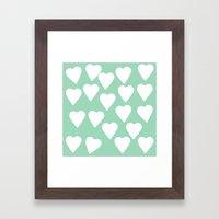 Mint Hearts Framed Art Print