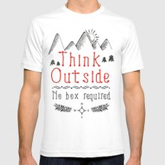 Think Outside - No Box Required Mens Fitted Tee White SMALL