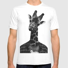 Giraffe Portriat SMALL White Mens Fitted Tee