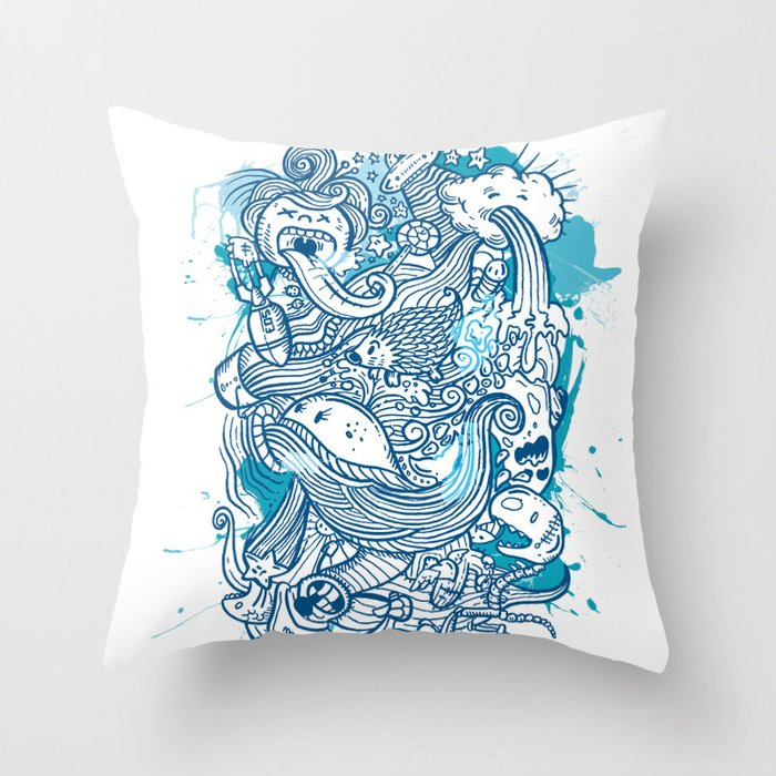 Throw Pillow Doodle : Random Doodle Throw Pillow by Letter_q Society6