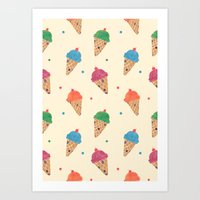 Fun Ice Cream Pattern Art Print