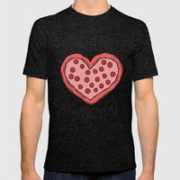 Valentine Pizza Mens Fitted Tee Tri-Black SMALL