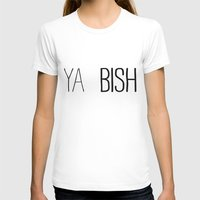 YA  BISH Womens Fitted Tee White SMALL