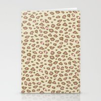 Pink Cream Leopard Print Stationery Cards