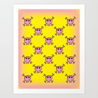 Pink Lemonade Punk Skull… Art Print