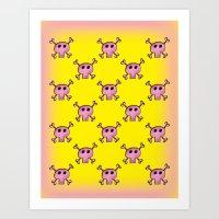 Pink Lemonade Punk Skulls Art Print