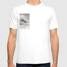 Angry Sea White Mens Fitted Tee SMALL