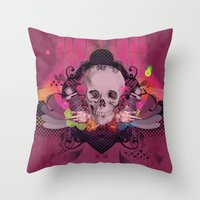 Skull Rainbow Throw Pillow