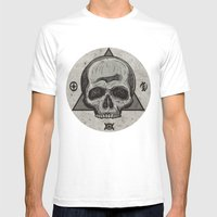 Skull & symbols Mens Fitted Tee White SMALL