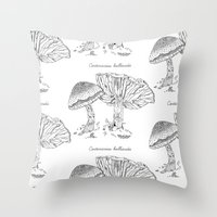 Cortinarius Bulliardii // Hand Drawn Fungi Series Throw Pillow