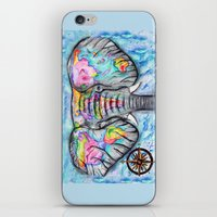 wanderlust elephant map watercolor travel art iPhone & iPod Skin