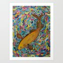 the golden koi Art Print
