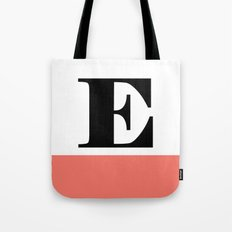 Monogram Letter E-Pantone-Peach Echo Tote Bag