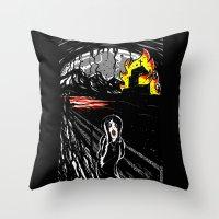 black scream Throw Pillow