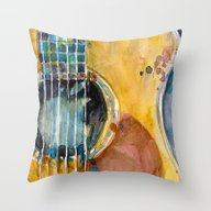 Throw Pillow featuring When Apple Meets Acousti… by Dorrie Rifkin Waterc…