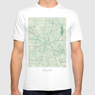 Dallas Map Blue Vintage Mens Fitted Tee White LARGE